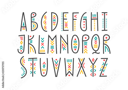 Fotomural Vector trendy alphabet in ethnic style with colorful decor.