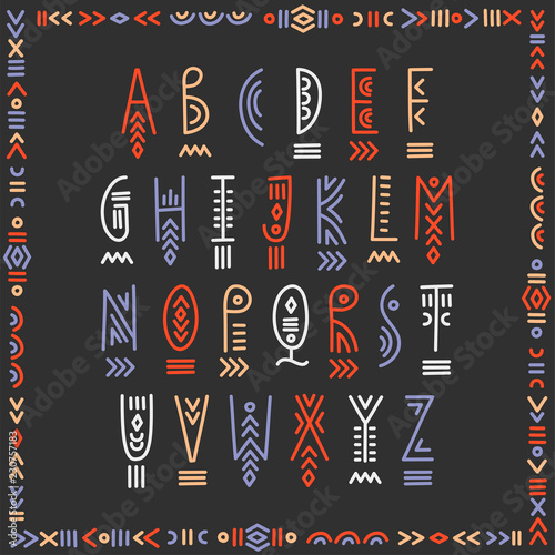 Foto auf AluDibond Boho-Stil Vector trendy underlined alphabet in ethnic line art style. For hipster design, music posters.