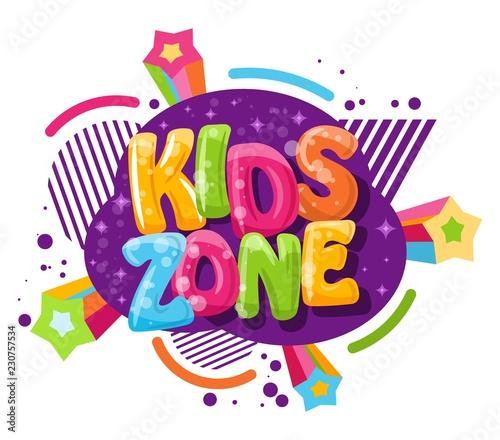 Fotografía  Kids zone cartoon inscription on a white background