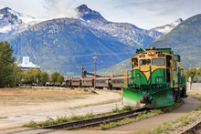 September 13 2018, Skagway Alaska. Historic White Pass Train Of The Gold Rush In Skagway  Alaska
