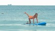 girl holds pose Balancing Cat on paddle board against ocean