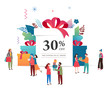Promo Christmas, New Year banner, Sale poster and flyer with giant gift boxes and small people, men and women