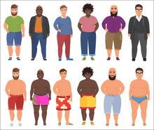 Fat Man In Casual And Summer Underwear Clothes Set. Plus Size Male People.