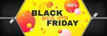 Black Friday Sale Vector Promotion Web Banner With Two Open Zippers On Abstract Yellow Background. Fall Season, Flyer Template For Autumn Seasonal Discounts, Special Offer 50 Off, Advertising Poster