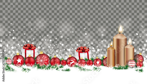 Christmas Header Transparent.Christmas Card Header Gray Snowflakes Baubles Gifts Candles