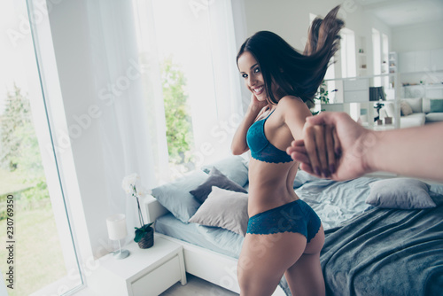 Fényképezés  Follow me! POV view of brunette lady with beaming smile in blue