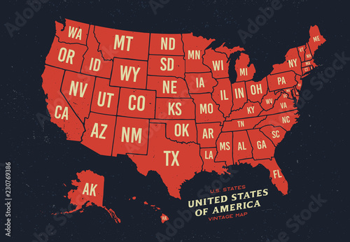 Archiwalne mapy Stanów Zjednoczonych Ameryki 50 stanów mapa wektor na białym tle na ciemnym tle.