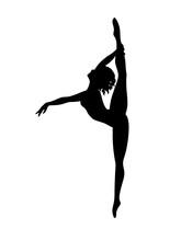 Vector Hand Drawn Illustration Of Ballerina Silhouette On White Background. Vector Isolated Dancer Girl For Logo, Sticker, Logotype, Icon, Banner, Poster. Illustration For Dance Studio.