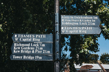 Directional Signs And Distance To Numerous Tourist Attractions From Richmond, London, UK.