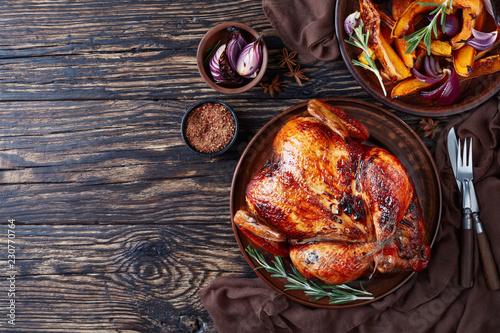 Fototapeta roasted chicken with grilled caramelized pumpkin obraz