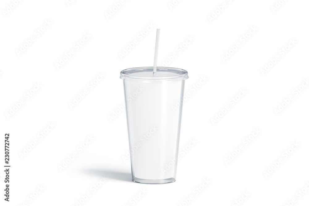 Fototapeta Blank white acrylic tumbler with straw mockup, isolated, 3d rendering. Empty plastic flask with pipe mock up. Clear cup for coffee or beer. Glass disposable bottle for cold drink, template.