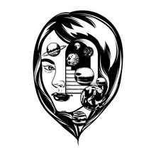Vector Hand Drawn Illustration Of Female Head With Door And Stairway. Tattoo Artwork With Planets. Template For Card, Poster, Banner, Print For T-shirt.