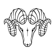 Aries Graphic Icon. Head Ram B...