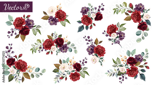 Obraz Set of floral branch. Flower red, burgundy, purple rose, green leaves. Wedding concept with flowers. Floral poster, invite. Vector arrangements for greeting card or invitation design - fototapety do salonu