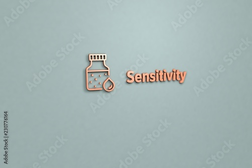 Fotografia  Illustration of Sensitivity with red text on grey background