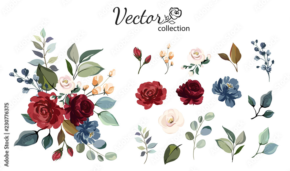 Fototapety, obrazy: Set of floral branch. Flower red, burgundy, navy blue rose, green leaves. Wedding concept with flowers. Floral poster, invite. Vector arrangements for greeting card or invitation design