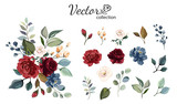 Fototapeta Kwiaty - Set of floral branch. Flower red, burgundy, navy blue rose, green leaves. Wedding concept with flowers. Floral poster, invite. Vector arrangements for greeting card or invitation design