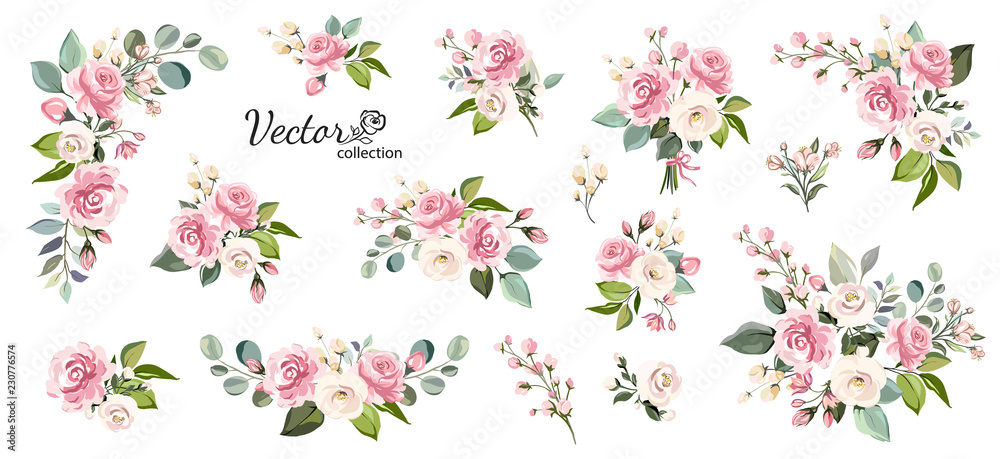 Fototapety, obrazy: Set of floral branch. Flower pink rose, green leaves. Wedding concept with flowers. Floral poster, invite. Vector arrangements for greeting card or invitation design