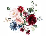 watercolor flowers. floral illustration, Leaf and buds. Botanic composition for wedding or greeting card.  branch of flowers - abstraction roses - 230776520
