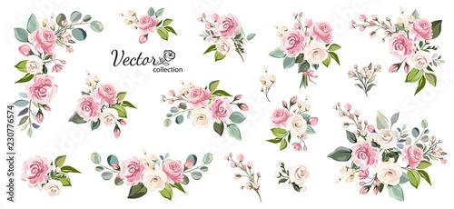 Fototapeta Set of floral branch. Flower pink rose, green leaves. Wedding concept with flowers. Floral poster, invite. Vector arrangements for greeting card or invitation design obraz