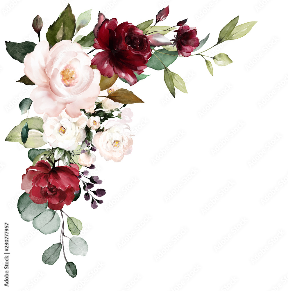 Fototapety, obrazy:  watercolor burgundy flowers. floral illustration, Leaf and buds. Botanic composition for wedding, greeting card.  branch of flowers - abstraction roses