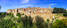 Medieval Village Farnese In Tuffa Rocks (viterbo Province). Traditional Villages Of Italy