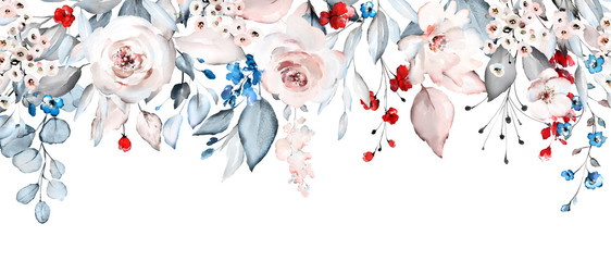 watercolor flowers. floral illustration, Leaf and buds. Botanic composition f...