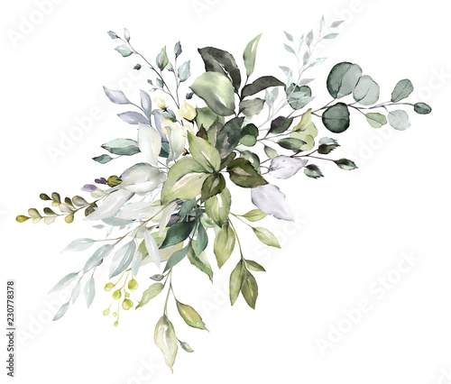 Fototapeta  watercolor floral arrangements with leaves, herbs.  herbal illustration. Botanic composition for wedding, greeting card. obraz