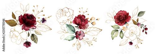 Valokuva watercolor burgundy flowers