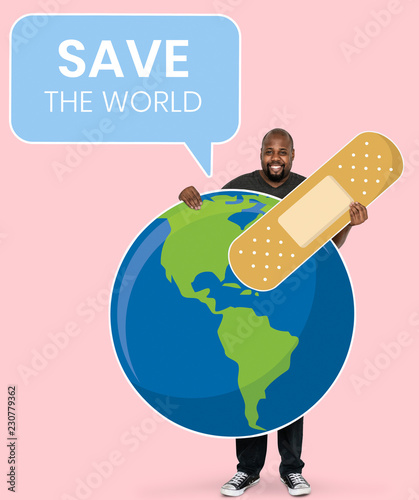 Valokuva  Cheerful ecologist with save the world concept symbols