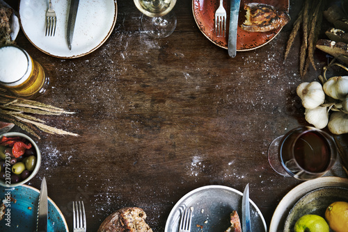 Fotografering Food frame on a wooden table