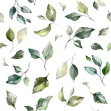 Seamless pattern with spring  leaves. Hand drawn background.   pattern for wallpaper or fabric. Botanic Tile. - 230783940