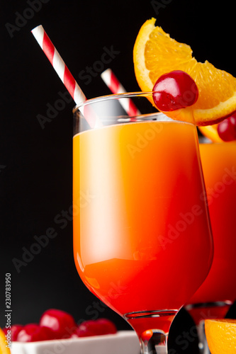 Cold tequila sunrise cocktails