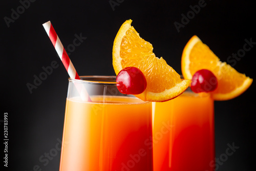 Icy tequila sunrise cocktails
