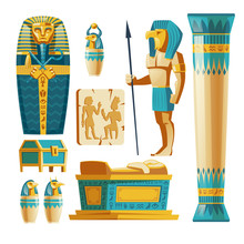 Vector Cartoon Set Of Ancient Egypt Objects Isolated On Background. Egyptian Civilization, Mythology And Religion. Statue Of God With Animal Head, Sarcophagus Of Pharaoh With Hieroglyphs And Symbols