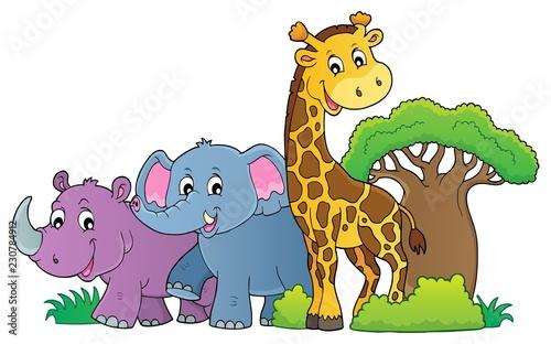 Foto op Aluminium Voor kinderen African nature theme image 1