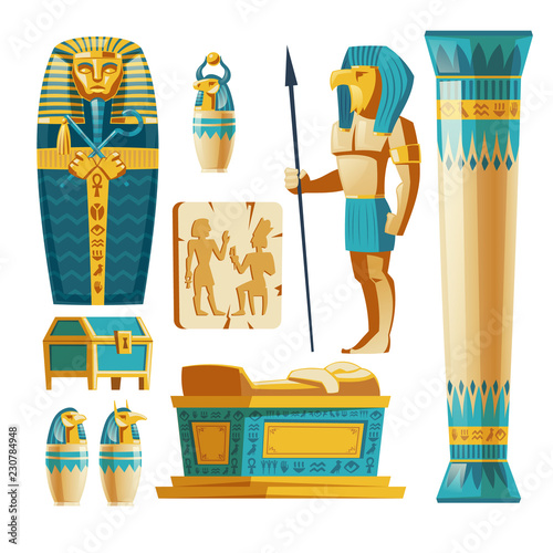Photo Vector cartoon set of ancient Egypt objects isolated on background