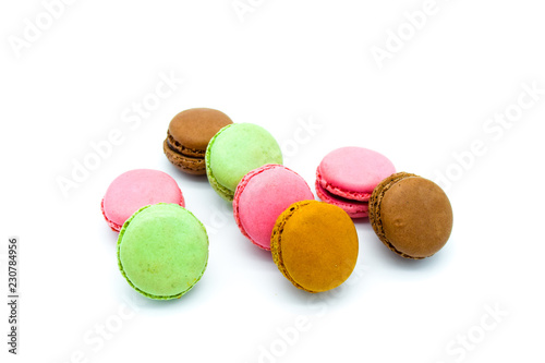 Staande foto Macarons macarons isolated on white background free text, sweet colorful macarons in row