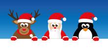Cute Reindeer Santa And Penguin Cartoon With Big Eyes Banner