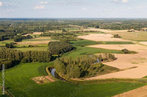 Fototapeten Natur Aerial of Demer river at Langdorp