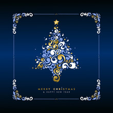 Christmas And New Year Gold Holiday Tree Card