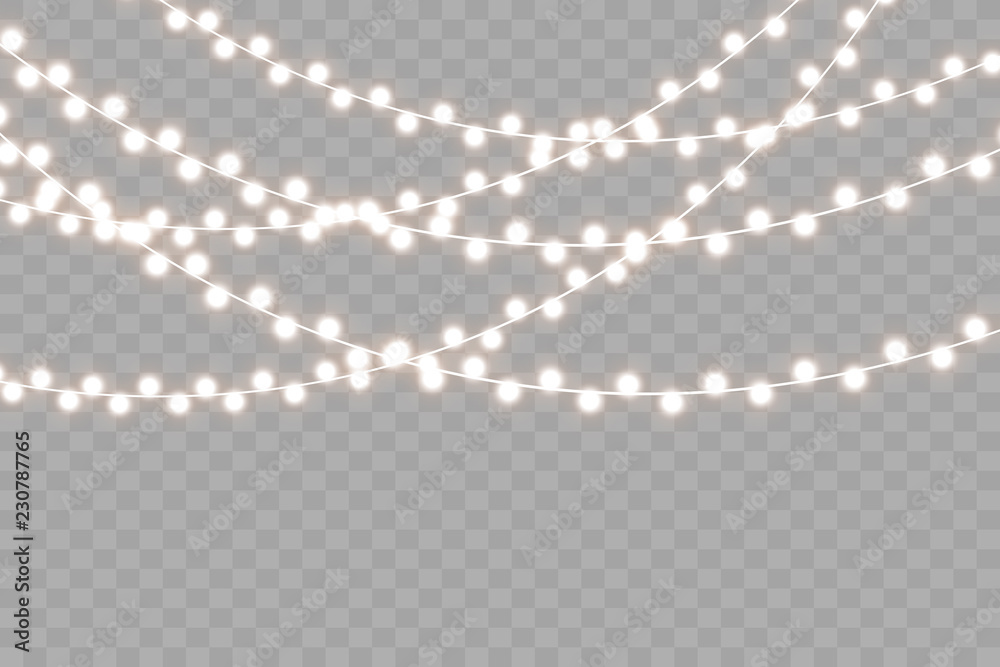 Fototapety, obrazy: Christmas lights isolated on transparent background. Vector illustration