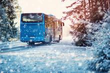 Bus On Winter Road Through Con...