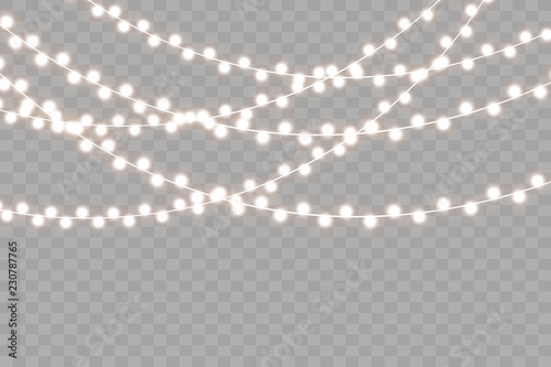 Fotografía  Christmas lights isolated on transparent background