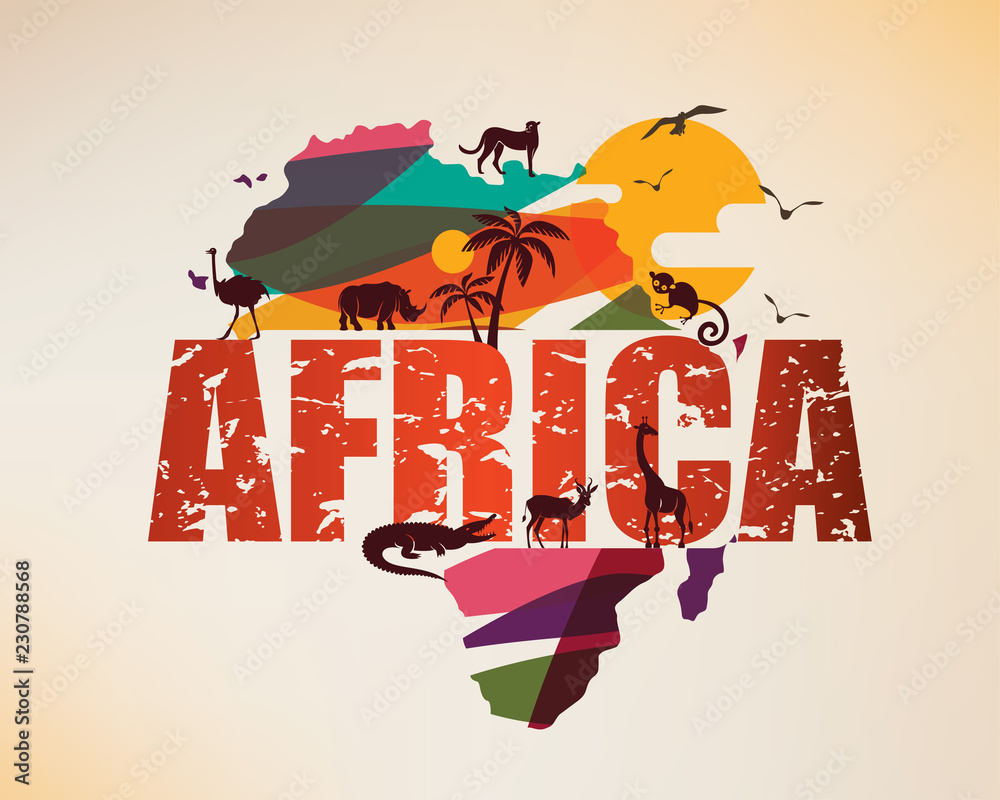 Fototapeta Africa travel map, decorative symbol of Africa continent with wild animals silhouettes