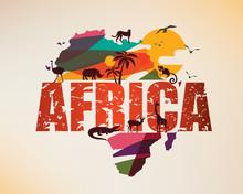 Africa Travel Map, Decorative ...