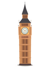 London Landmark, Big Ben Clock-tower Vector Illustration. England Landmark, London City Symbol Cartoon Style. Isolated White Background