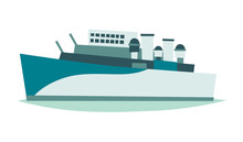 Ship Belfast London Museum Vector Illustration. England Landmark, London Symbol Cartoon Style. Isolated White Background