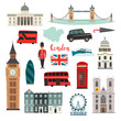 London vector illustration set. Cartoon United Kingdom icons. London tourist landmarks. Tower bridge art. London symbols red phone booth and bus. Isolated on white background