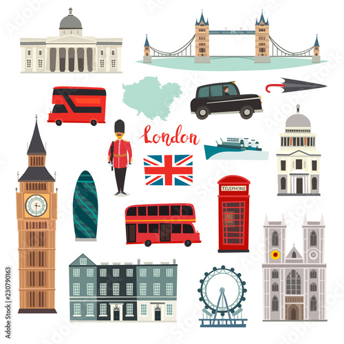 Fototapeta London vector illustration set. Cartoon United Kingdom icons. London tourist landmarks. Tower bridge art. London symbols red phone booth and bus. Isolated on white background obraz